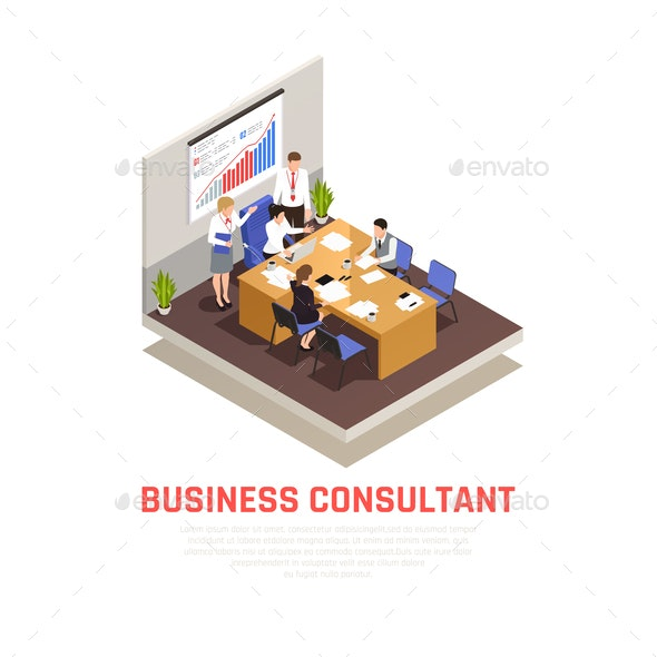 Business Consultant Isometric Concept - Concepts Business