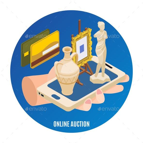 Auction Isometric Background - Miscellaneous Vectors