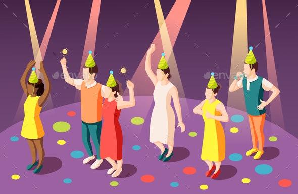 Birthday Party Isometric Composition - Birthdays Seasons/Holidays