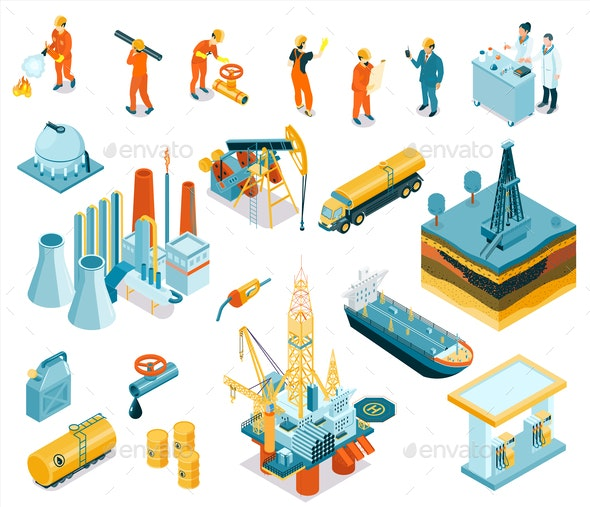 Isometric Oil Industry Workers Icon Set - Industries Business