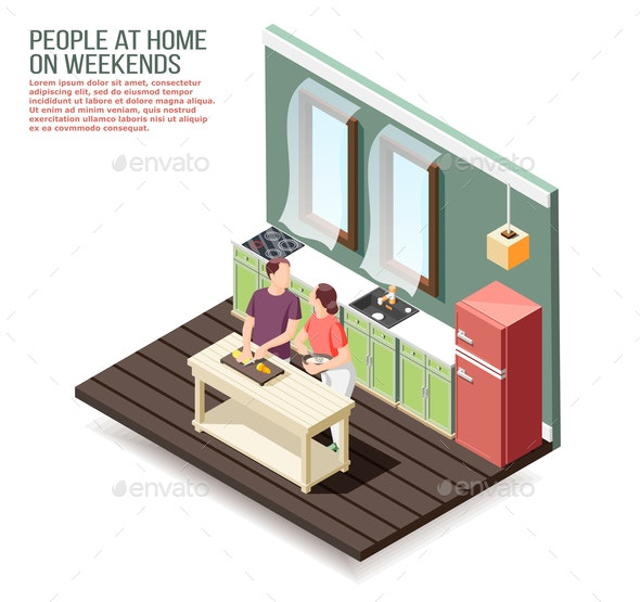 Weekend At Home Isometric Composition - Food Objects