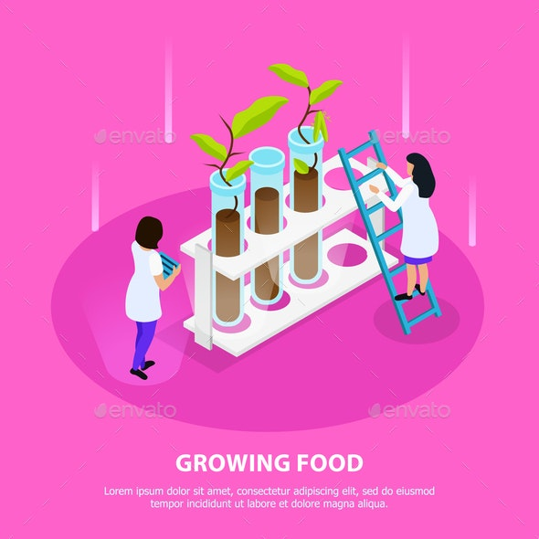 Growing Artificial Food Isometric Composition - Food Objects