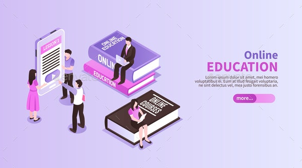 Online Education Horizontal Banner - Web Technology