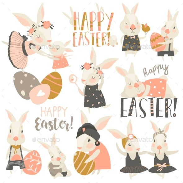 Rabbit and Bunny with Easter Eggs - Miscellaneous Seasons/Holidays