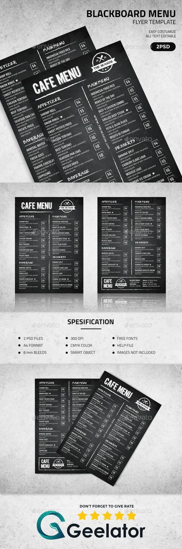 Blackboard Menu Flyer Template - Food Menus Print Templates