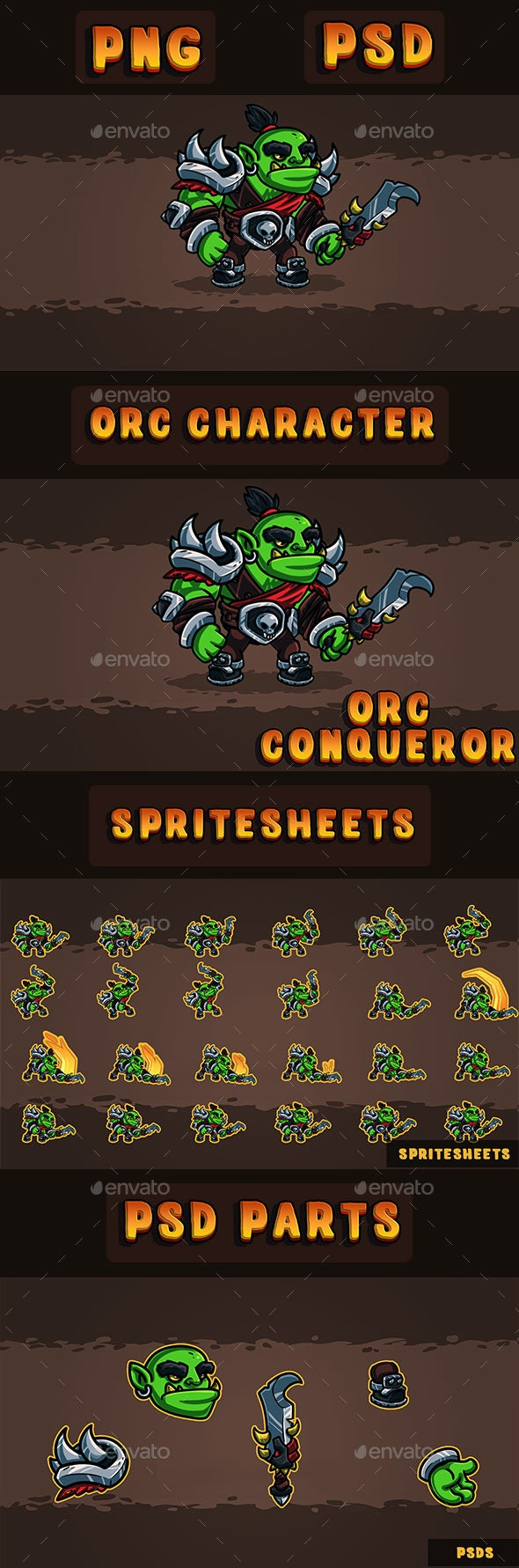 Orc Conqueror 2D Character - Sprites Game Assets