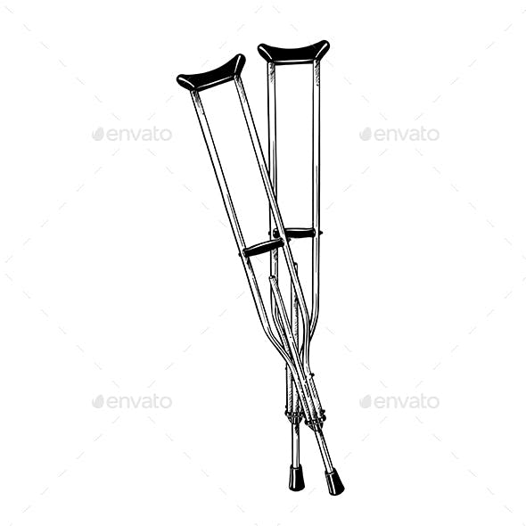 Hand Drawn Sketch of Crutches