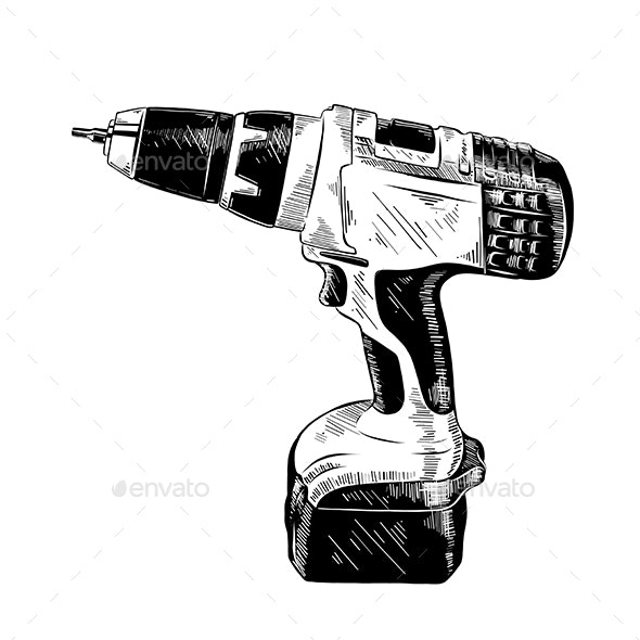 Hand Drawn Sketch of Electric Drill Tool - Miscellaneous Vectors