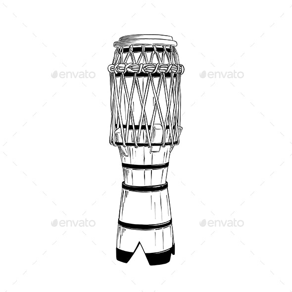 Hand Drawn Sketch Of Brazilian Drum - Man-made Objects Objects