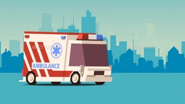 Ambulance Car on Cityscape Background - Man-made Objects Objects