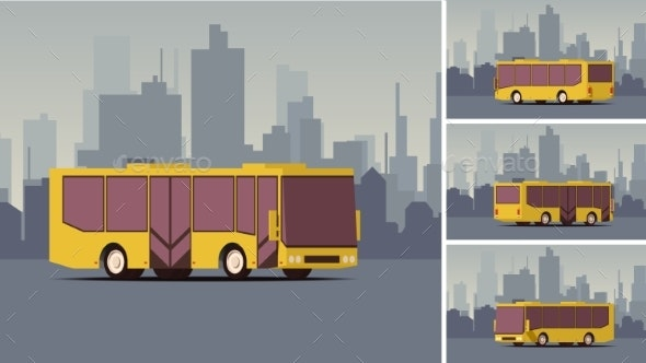 Side View Autobus or Public Transport with City - Miscellaneous Vectors