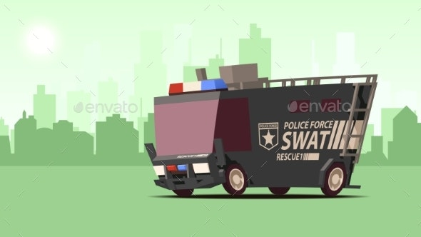 Police Van Armored Special Forces Vehicle SWAT - Man-made Objects Objects