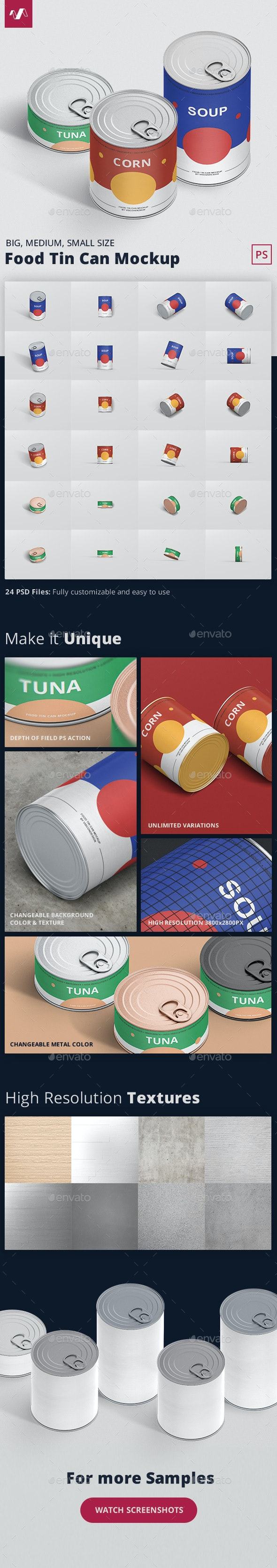 Food Tin Can Mockup Bundle - Food and Drink Packaging