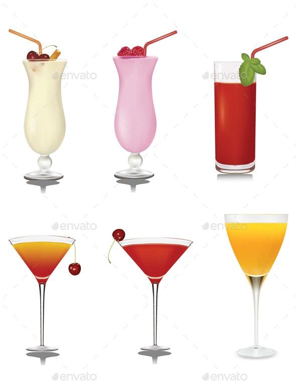 Fruit Juice Set Vector - Food Objects