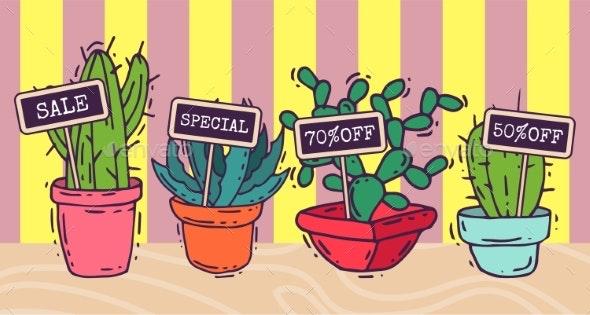 Succulents Decorative Banners Cacti Green Plants - Flowers & Plants Nature