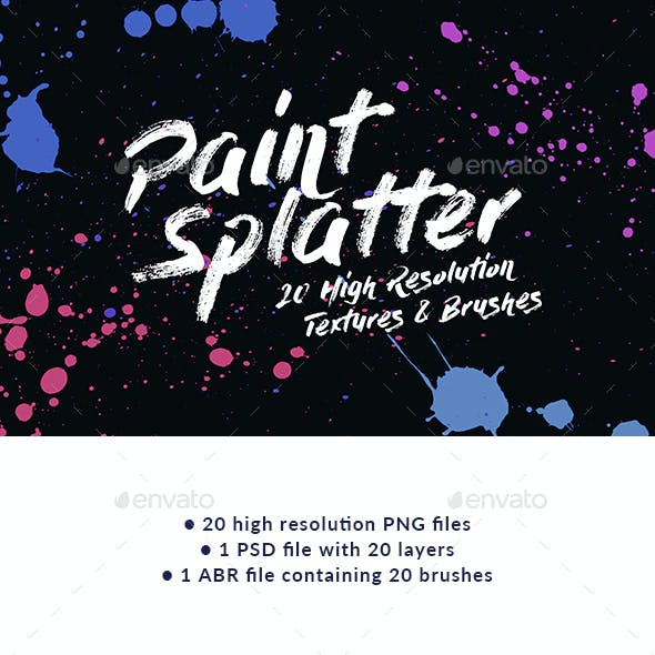 20 Paint Splatter Textures and Brushes