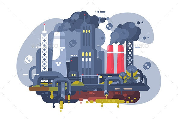 Industrial Smoke Clouds on City Landscape - Industries Business