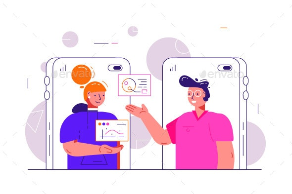 Cartoon Man and Woman Video Chatting Online - Communications Technology
