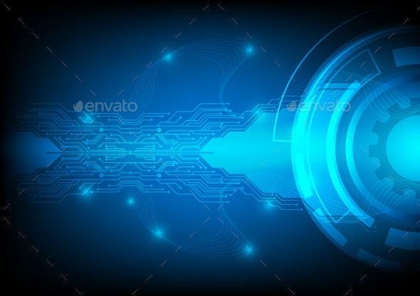 Blue Background Digital Technology Concept