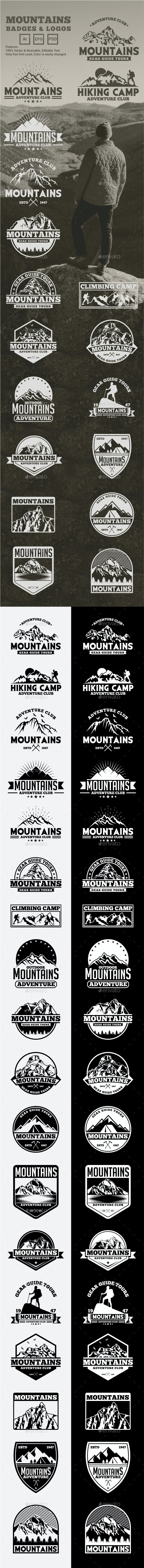 Mountains Logos and Badges - Badges & Stickers Web Elements