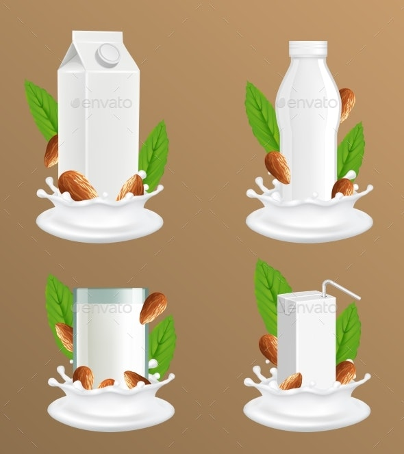 Almond Milk Package Vector Realistic Mockup Set - Food Objects