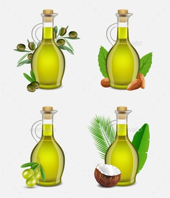 Vector Realistic Argan, Olive, Coconut and Almond - Food Objects