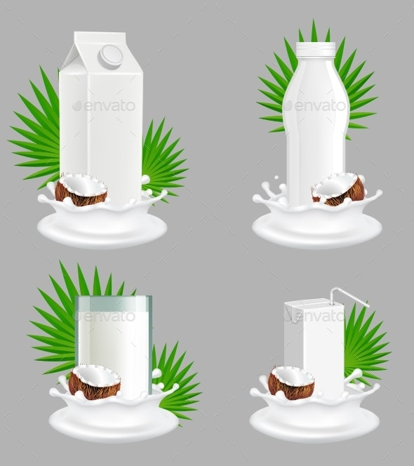 Coconut Milk Package Vector Realistic Mockup Set - Food Objects