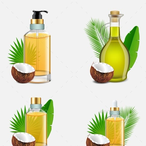 Coconut Oil Bottle Set Vector Realistic