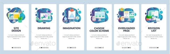 Mobile App Onboarding Screens Art and Design - Web Elements Vectors