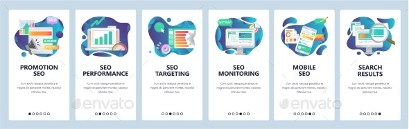 Mobile App Onboarding Screens SEO Optimization - Web Elements Vectors