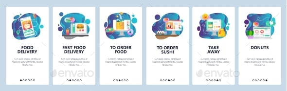 Mobile App Onboarding Screens Food Delivery - Web Elements Vectors