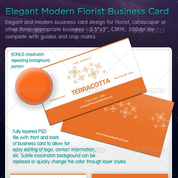 Elegant Modern Florist Business Card