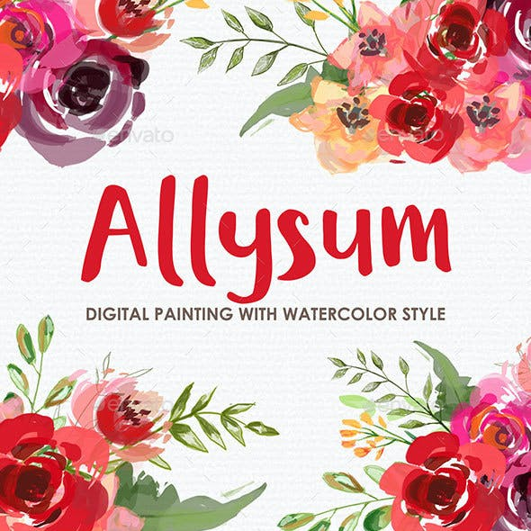 Allysum - Watercolor Digital Painting Floral Flowers Style