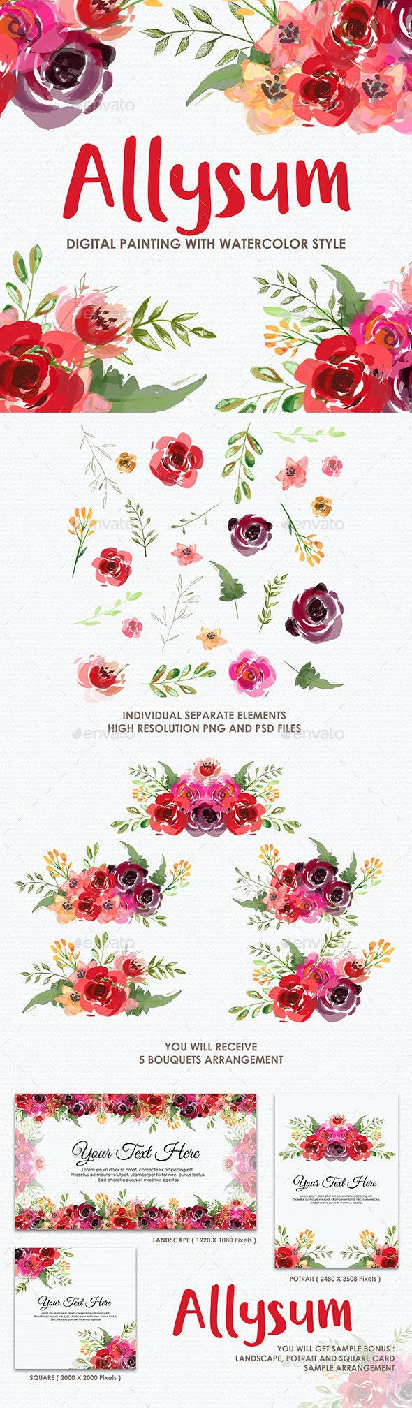 Allysum - Watercolor Digital Painting Floral Flowers Style - Decorative Graphics
