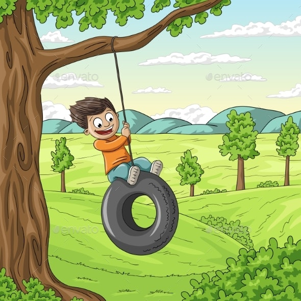 Boy Swinging - People Characters