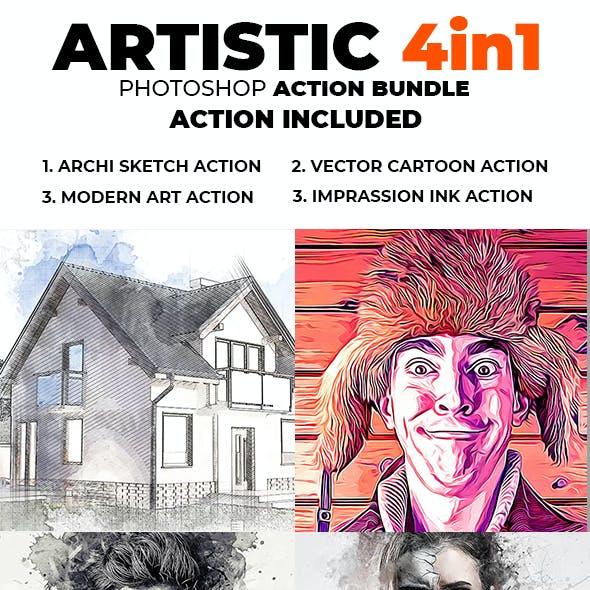 Artistic 4 in 1 Photoshop Action Bundle