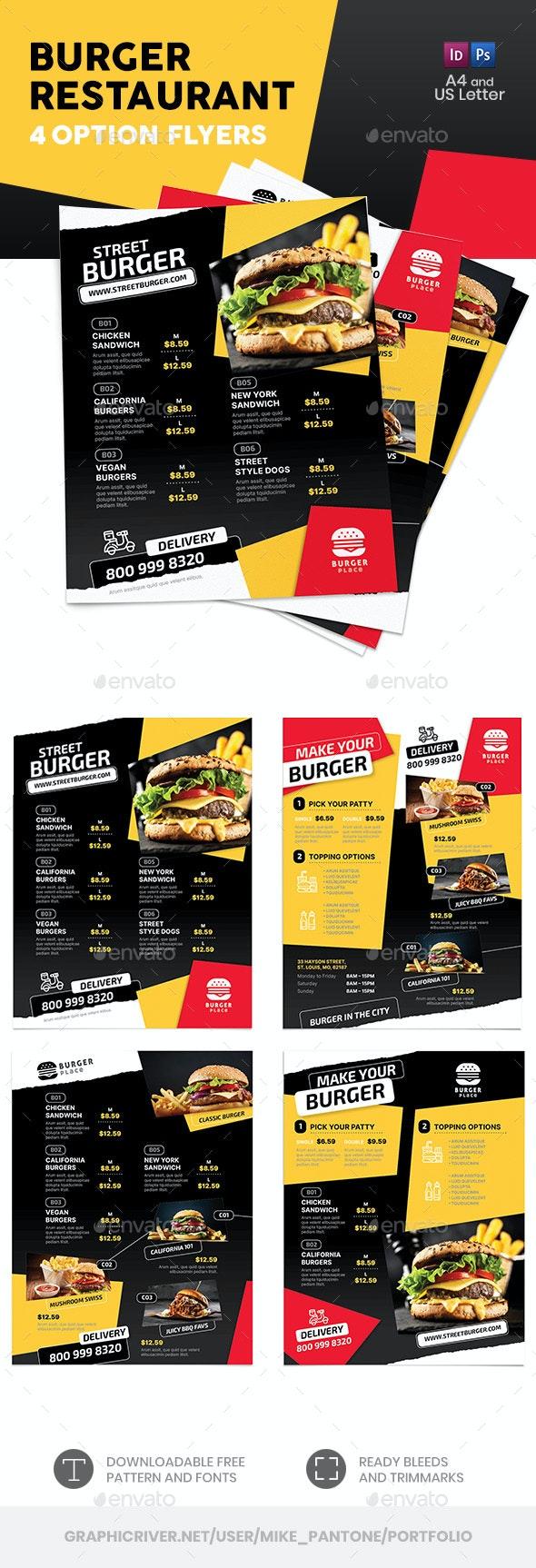 Burger Restaurant Flyers 2 – 4 Options - Food Menus Print Templates