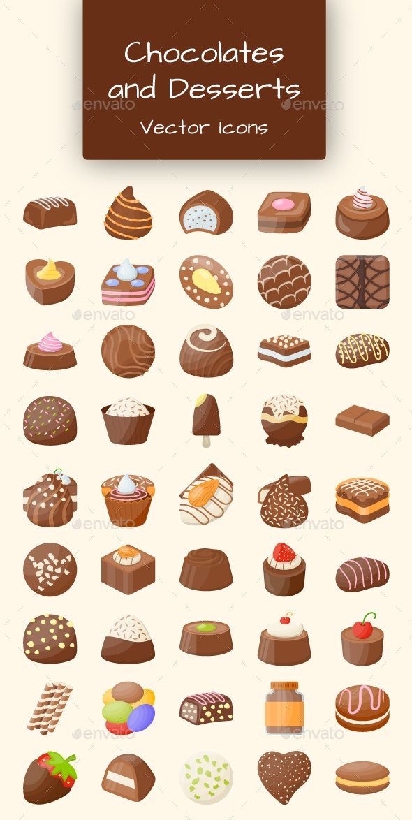 50 Chocolates and Desserts Icons - Icons