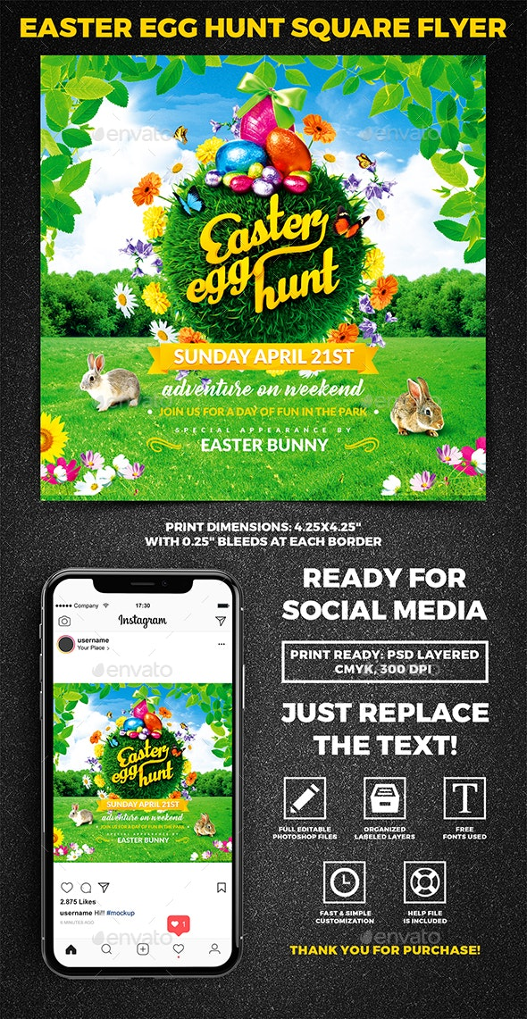 Easter Egg Hunt Square Flyer vol.2 - Holidays Events