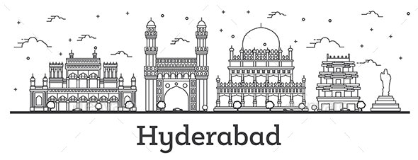 Outline Hyderabad India City Skyline with Historical Buildings - Buildings Objects