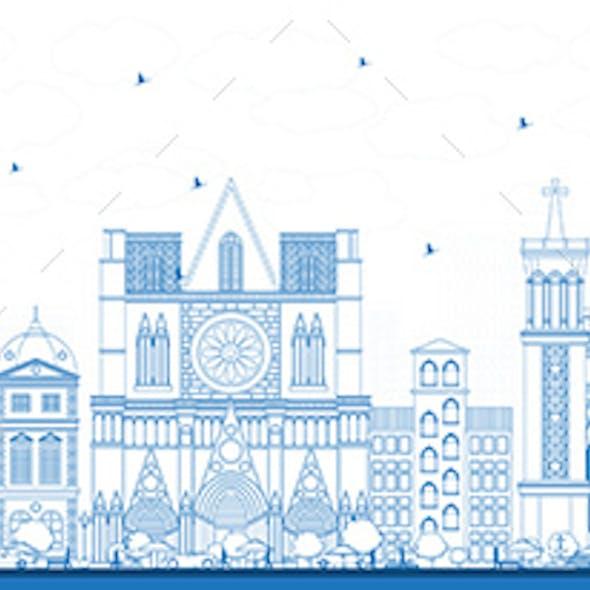 Outline Lyon France City Skyline with Blue Buildings