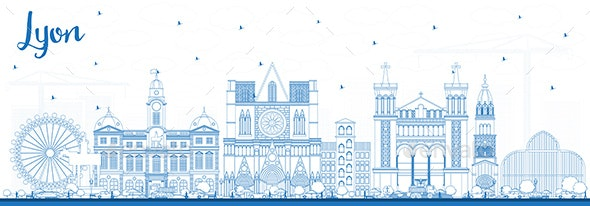 Outline Lyon France City Skyline with Blue Buildings - Buildings Objects