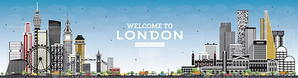 Welcome to London England Skyline with Gray Buildings - Buildings Objects