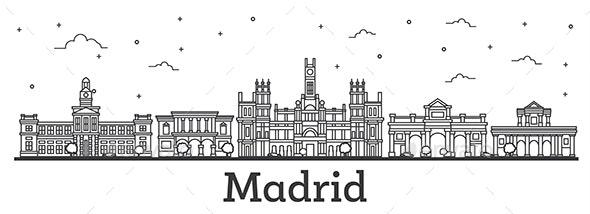 Outline Madrid Spain City Skyline - Buildings Objects