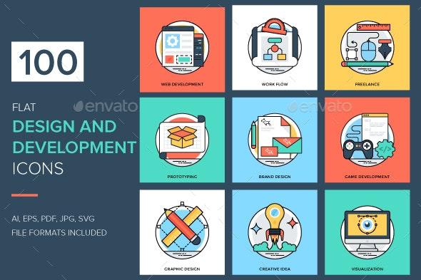 100 Flat Design and Development Icon - Icons
