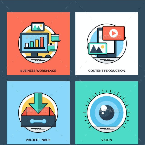 20 Flat Project Management Icon