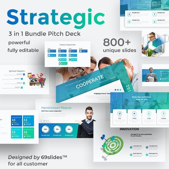 Strategic Market 3 in 1 Pitch Deck Bundle Powerpoint Template