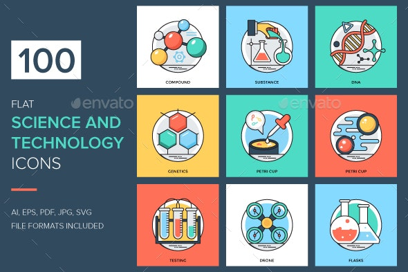 100 Flat Science and Technology Icon - Icons