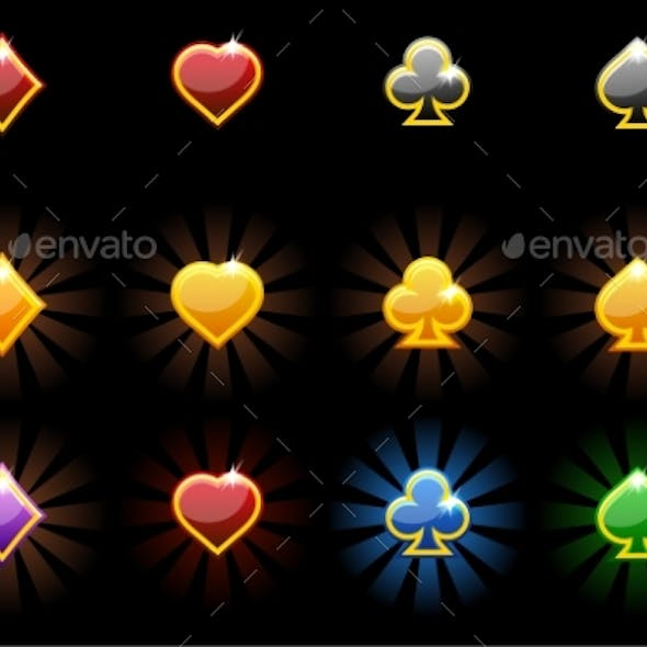 Vector Playing Card Symbols, Glossy Icons of