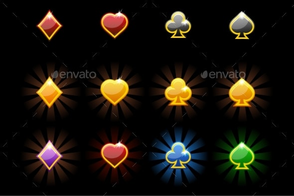 Vector Playing Card Symbols, Glossy Icons of - Icons
